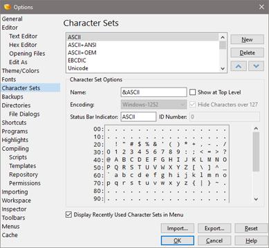 010 Editor Manual - Character Set Options