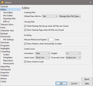 010 Editor Manual - Editor Options